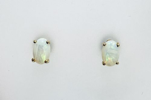 Opal Yellow Gold Claw Set Oval Stud Earrings